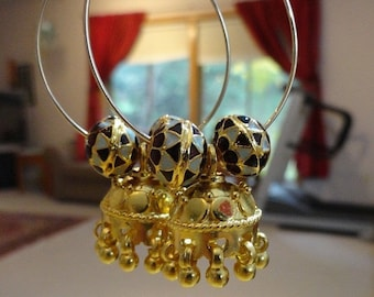 FINAL SALE Jaipur Jhumkas - Gold Vermeil Jhumkas with Meenakari beads on Hoops -J102