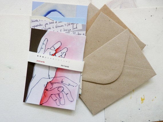 set of 4 postcards - The Hands series by Ana Pina