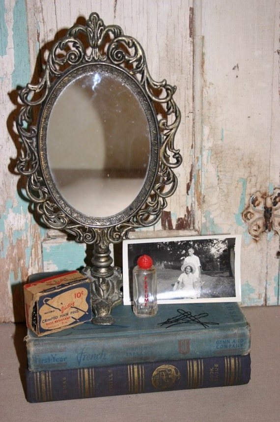 vintage oval metal dressing table mirror on stand. Black Bedroom Furniture Sets. Home Design Ideas