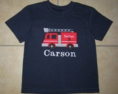 Embroidered - personalized firetruck birthday shirt or bodysuit - Choose Black Navy Royal Blue or white shirt