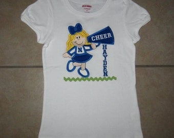Embroidered - Cheerleader with megaphone shirt with personalization - choose short or long sleeve - choose team colors & hair color