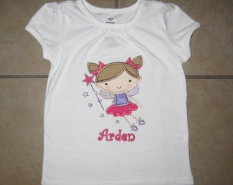 Embroidered - Fairy shirt with personalization - choose short or long sleeve