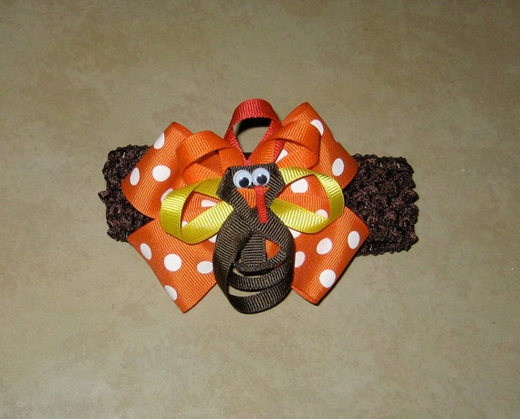 Fall/Thanksgiving Turkey 2-in-1 hair bow on detachable crocheted hair band