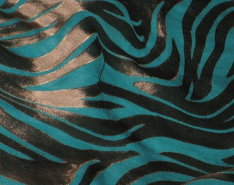Silk Scarf, Hand Dyed, Turquoise / Copper - Eye of The Tiger I
