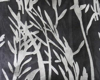 Silk Scarf / Shawl, Hand Dyed, Black White- Simple Drama II