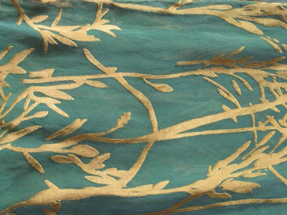 Silk Scarf, Hand Dyed, Green / Gold  - Irish Spring Fling