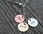 Tri-Color Cascade Mother's Necklace - 12 FONT choices - up to 9 Discs