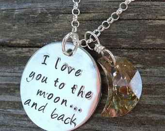 Love You to the Moon... sterling necklace