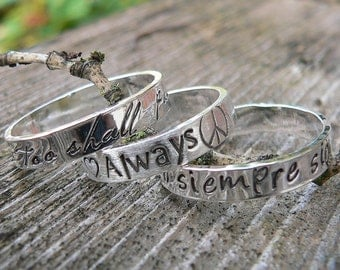3 Stacked Custom Sterling Silver Hand Stamped Ring - 14 Font Choices