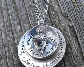 Tiny Acorns...Custom Sterling Necklace