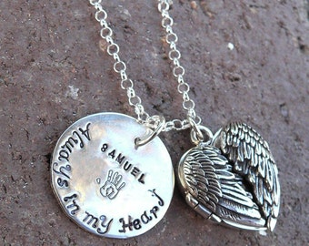 Wings of My Heart - Solid Sterling Hand Stamped Necklace with Winged Locket