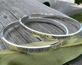Heavy Sterling Silver Bangle - Personalized - 11 font choices