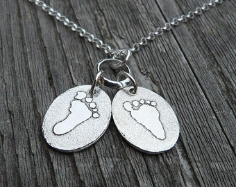 I Wear Your Footprint (2 prints) - Sterling Pendant with Your Childrens ACTUAL Footprint - PETITE version