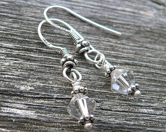 Simply classic Swarovski Crystal and Sterling drop earrings