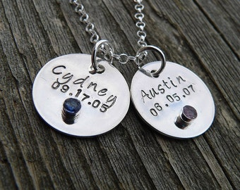 Bit of Bling - Sterling and Birthstones Tags Necklace