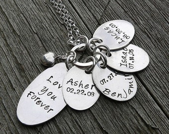 Love You Forever...Custom Sterling Mothers Necklace (4 tags)