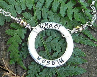 The Mothers Circle - a Customizable Necklace...6 font choices