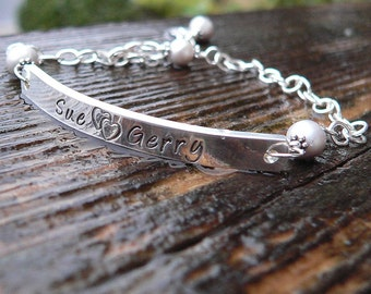Sterling Silver ID or Word Bracelet (or Medical Alert) Hand Stamped with Any Name, Condition, Word, or Short Phrase.
