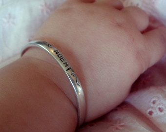 Custom Sterling Baby Cuff - 4 font choices