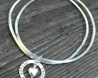 Birth Designs -Unique Mother's or Sweetheart Double Charm Bangle - Personalized