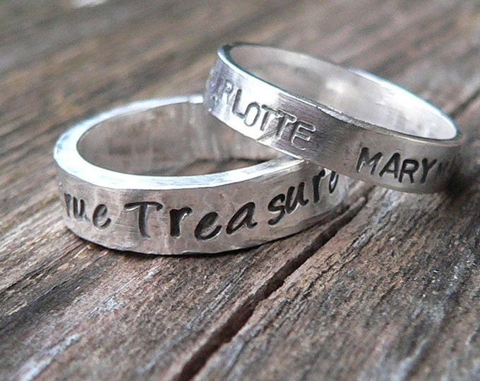 RING SET - Custom Solid Sterling Silver One Thick & One Thin Hand Stamped Rings - Couples Rings - His and Hers - Choose Font - Your Message