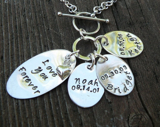 Love You Forever...Custom Sterling Mothers Necklace...Front Toggle version