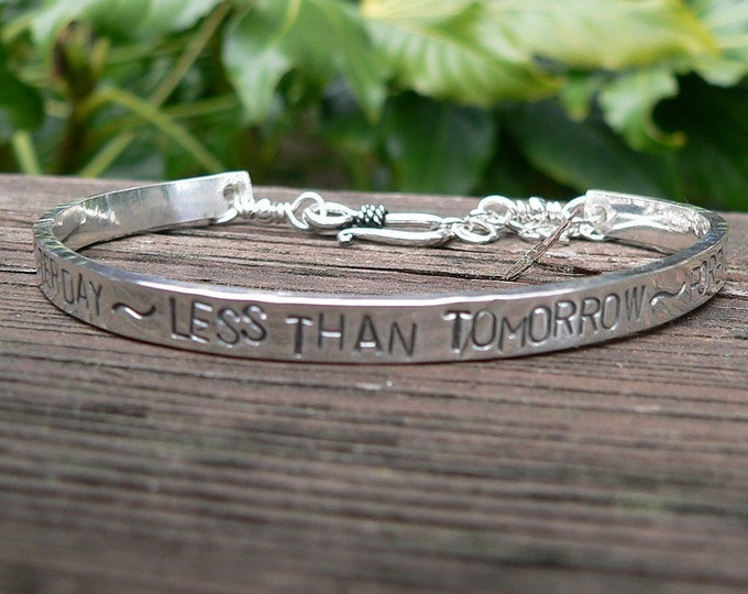Mens Custom Stamped Sterling Silver Cuff Bracelet - 7 Font Choices