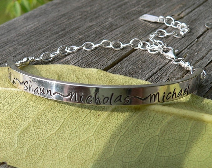 Custom Sterling Demi Bracelet - 12 font choices