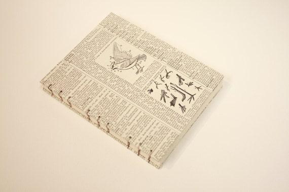 Hand Bound Journal with Bird & Bird Feet Diagram