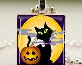 Backbonestudio2 - Pumpkin and Black Cat Scrabble Tile Pendant (391)