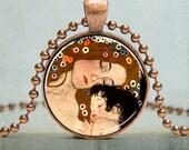 Mother and Child Art Pendant | Gustav Klimt Art Pendant | Mother and Baby Art Pendant | Fine Art Pendant | No. 3029