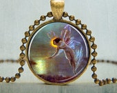 Fairy Pendant, Fairy Jewelry, Blue Fairy Pendant  (827)
