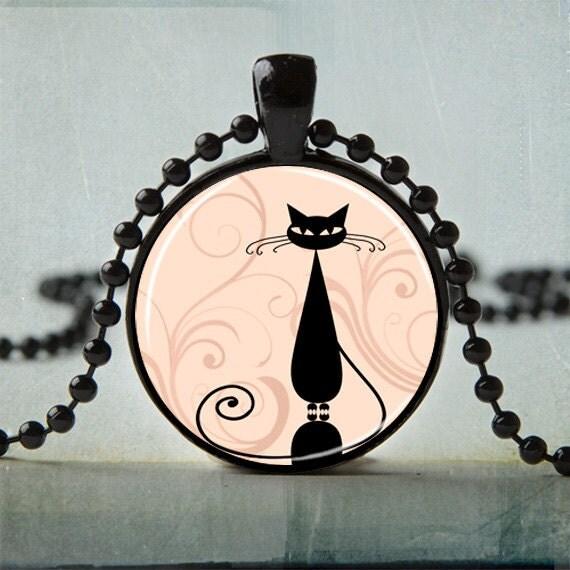 Black Cat Necklace - Whimsical Cat Art Pendent - Cat Jewelry - Cat Necklace - Animal Necklace | No. 1001