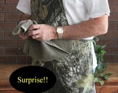 Camo Grilling-cooking Apron w/ Penis Hidden Under Attached BROWN  Towel - Mature Content