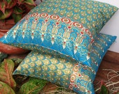 2 Pillow Covers Blue and Gold  Painting sofa Throw decorative pillow cushion covers 18 inches