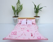 NEW 1:12 scale Miniature Dollhouse Pink Bear Bedding set for double bed