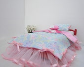 "New doll Bedding set pink blue floral Bedspread pillow cushion 12"" doll barbie blythe bratz"