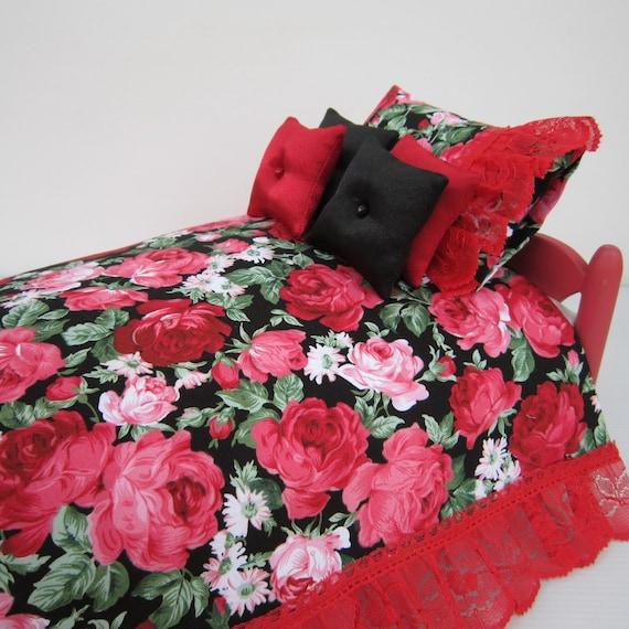 scale 1:6 Miniature Dollhouse Doll Red Rose flowery Bedding set linens Blythe Barbie Bratz