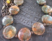 Copper Green Opal, Swarovski Crystals, Czech Beads & Antiqued Brass Necklace-All Over The World
