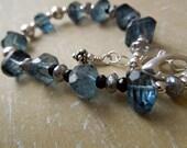 London Blue Topaz Fancy Nuggets, Silver Labradorite, Black Tourmaline, Sterling Silver Bracelet-Sea Mist