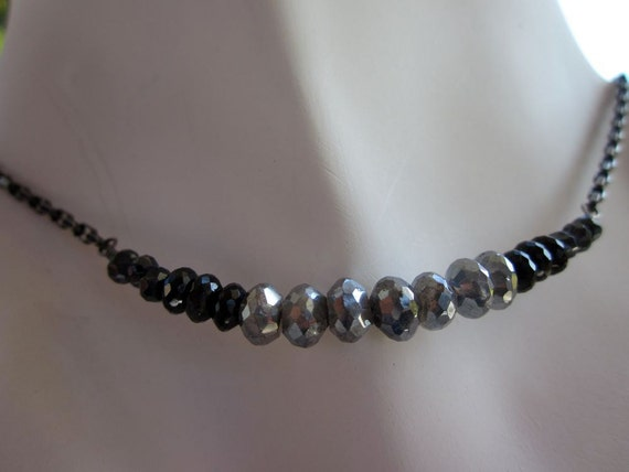 AAA Black Garnet, Silver Labradorite, Mystic Black Spinel, Antiqued Fine Silver, Antiqued Sterling Silver Necklace-Mystical Nights