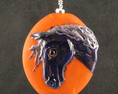 Purple Horse Pony Pendant Lampworked Glass