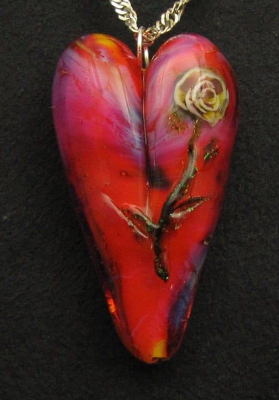 Pink Heart Rose Pendant Lampwork Glass