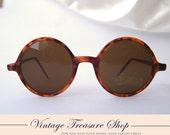 Vintage Late 1980s 90s Brown Tortoise Round Sunglasses