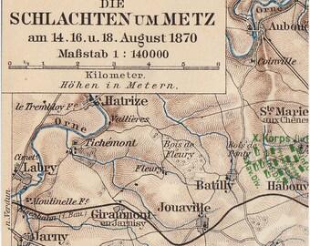 1900 Antique MAP print of METZ,  Germany