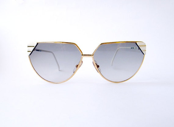 Vintage HELENA RUBINSTEIN Paris Golden White Sunglasses Late 70s Early 80s