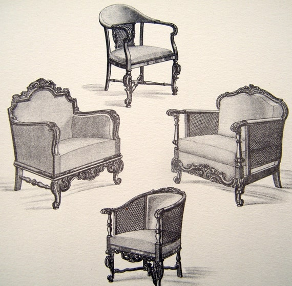 1920s Antique Charles II FURNITURE By TwoCatsAntiquePrints