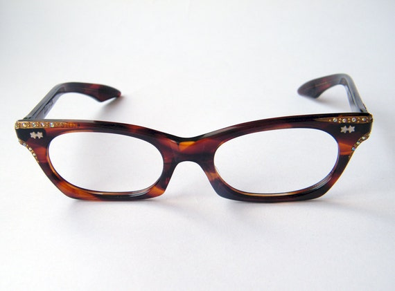 Vintage 50s or 60s brown carey with aurora borealis rhinestones Cat eye Squared frame