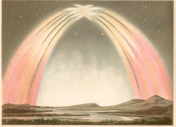 1894 Rare Antique beautiful polar lights print, Northern lights and aurora borealis in Scandinavia and Greenland