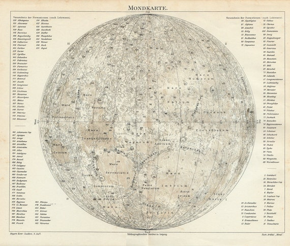 1908 Antique ASTRONOMY MAP print of the MOON, with the latin names of its craters and mountains